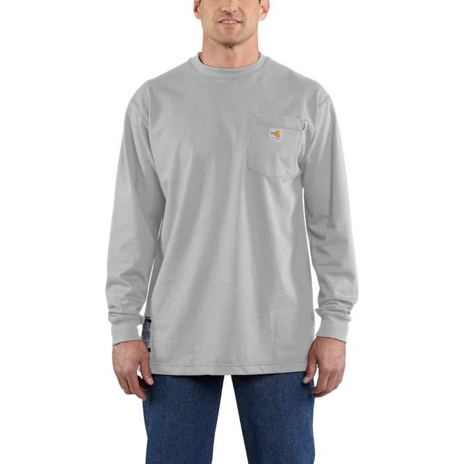 Carhartt Flame Resistant Carhartt Force Cotton Long Sleeve T‐Shirt, 100235 Light Gray