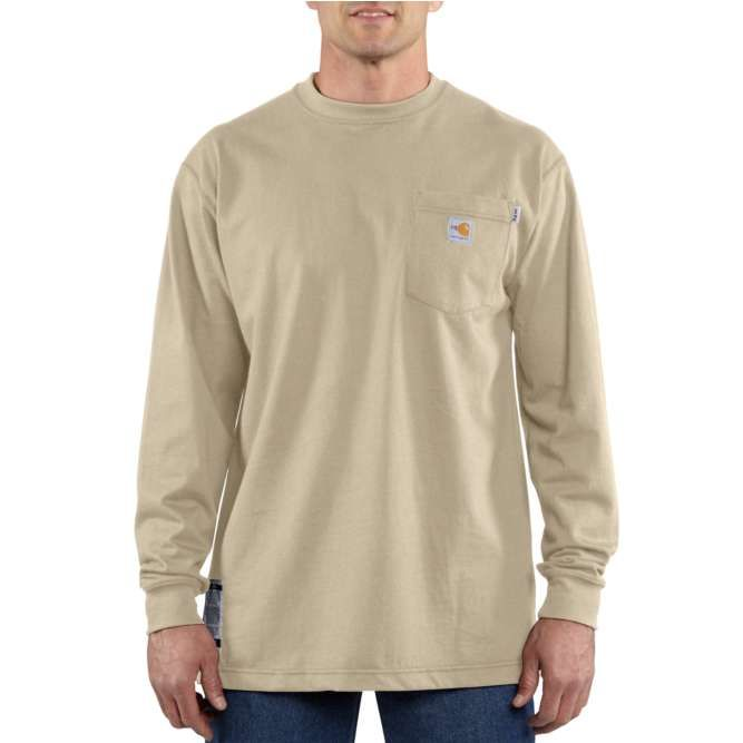 Carhartt Flame Resistant Carhartt Force Cotton Long Sleeve T‐Shirt, 100235 Khaki