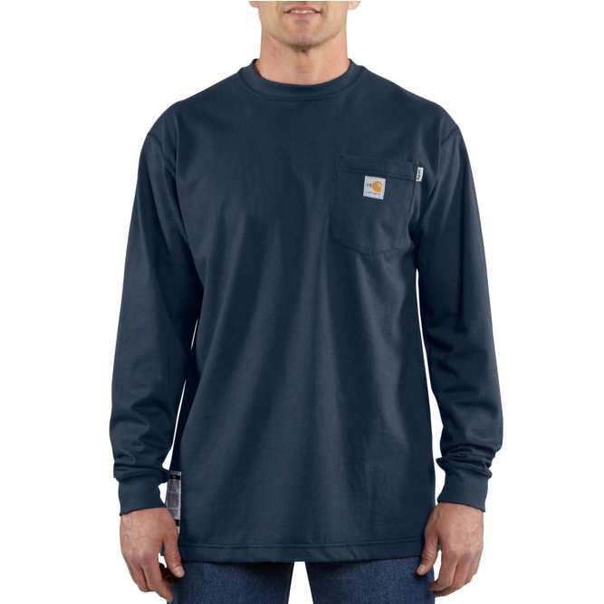 Carhartt Flame Resistant Carhartt Force Cotton Long Sleeve T‐Shirt, 100235 Dark Navy Option