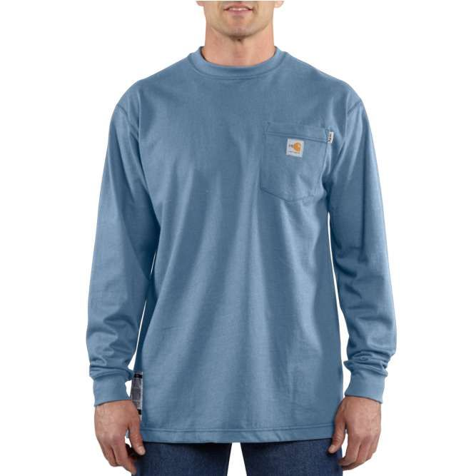 Carhartt Flame Resistant Carhartt Force Cotton Long Sleeve T‐Shirt, 100235 Medium Blue