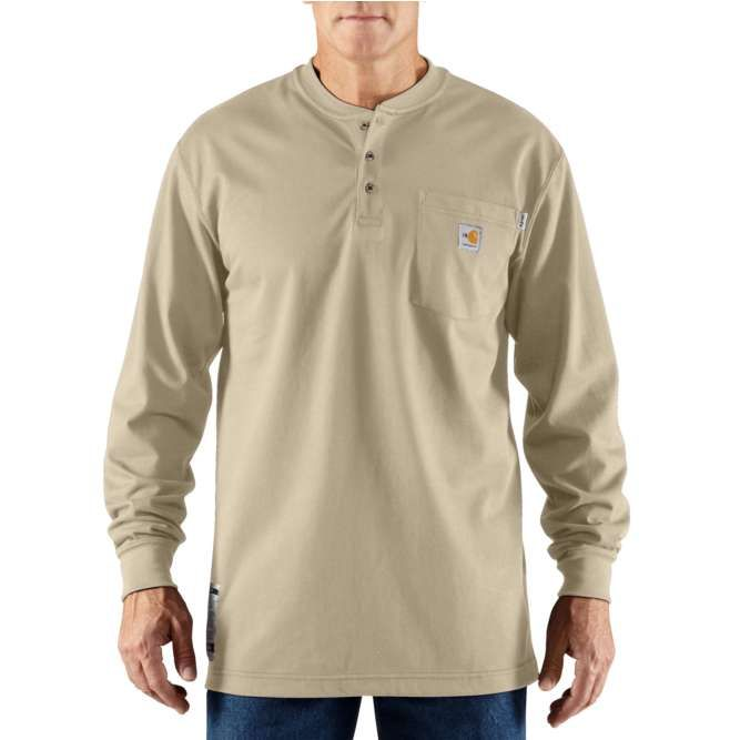 Carhartt Flame Resistant Carhartt Force Cotton Long Sleeve Henley 100237 Khaki
