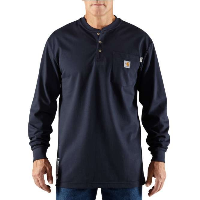Carhartt Flame Resistant Carhartt Force Cotton Long Sleeve Henley 100237 Dark Navy
