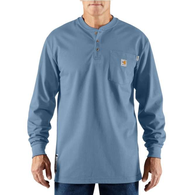 Carhartt Flame Resistant Carhartt Force Cotton Long Sleeve Henley 100237 Medium Blue Option