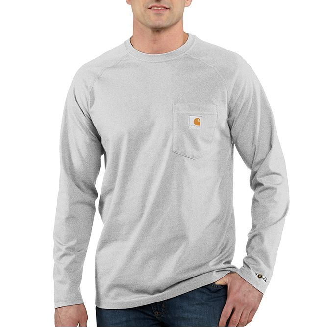 Carhartt Force Cotton Delmont Long‐Sleeve T‐Shirt, 100393 Heather Gray