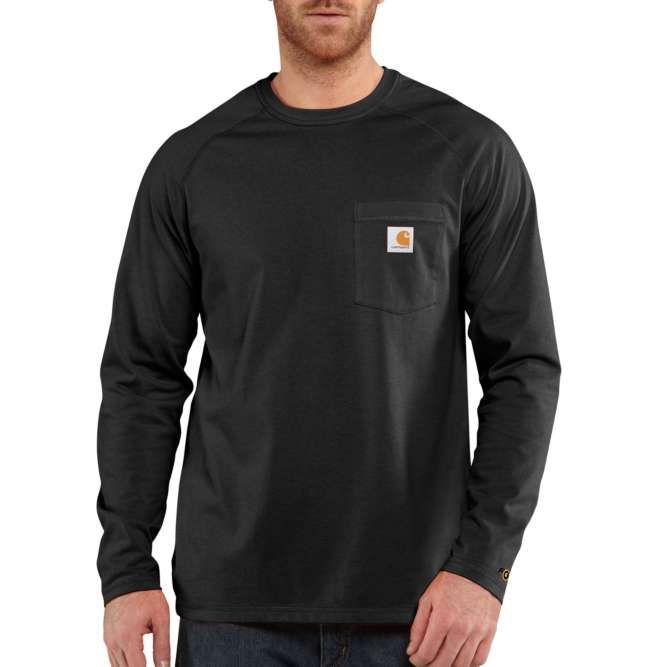 Carhartt Force Cotton Delmont Long‐Sleeve T‐Shirt, 100393 Black Option