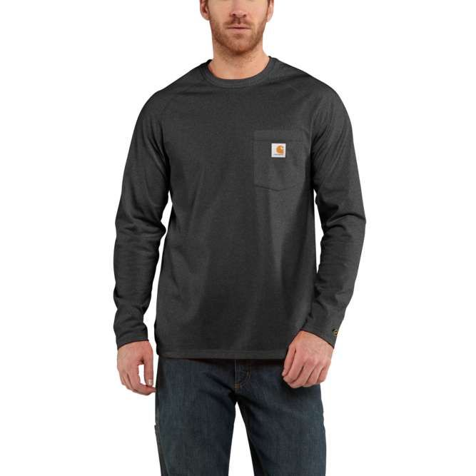 Carhartt Force Cotton Delmont Long‐Sleeve T‐Shirt, 100393 Carbon Heather Option