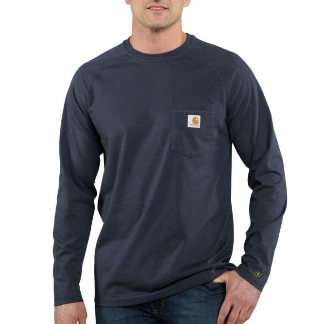 Carhartt Force Cotton Delmont Long‐Sleeve T‐Shirt, 100393 Navy Option