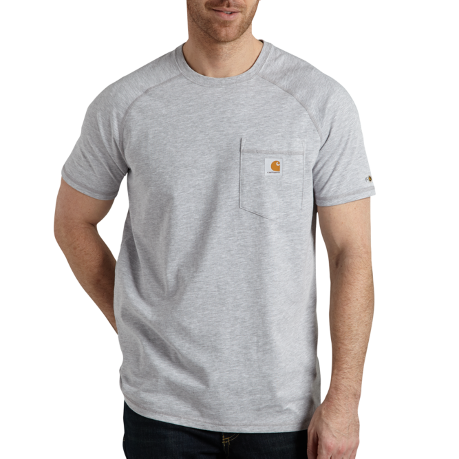 Carhartt Force Cotton Delmont Short‐Sleeve T‐Shirt, 100410 Heather Grey Option Image