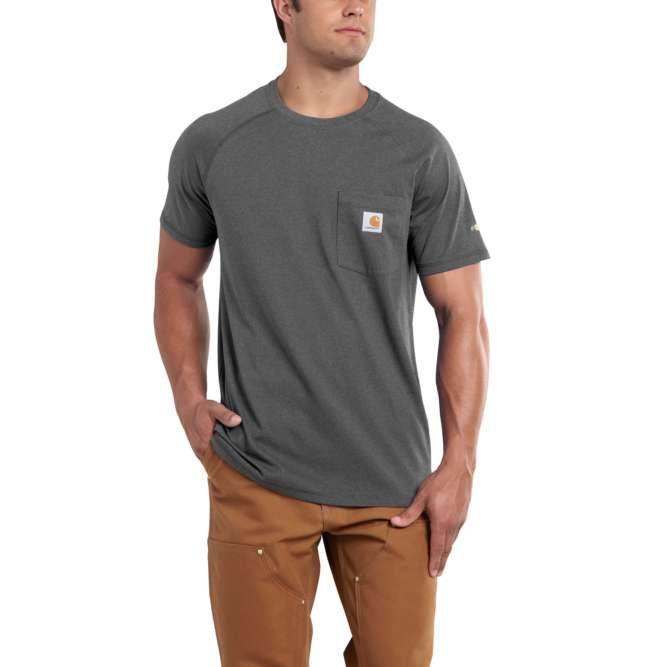 Carhartt Force Cotton Delmont Short‐Sleeve T‐Shirt, 100410 Carbon Heather