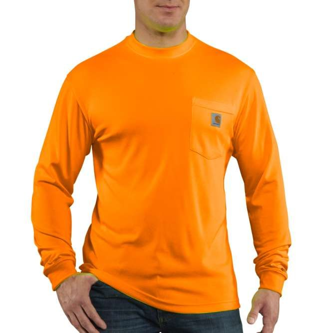 Carhartt Force Color Enhanced Long Sleeve T‐Shirt, 100494 Brite Orange Option