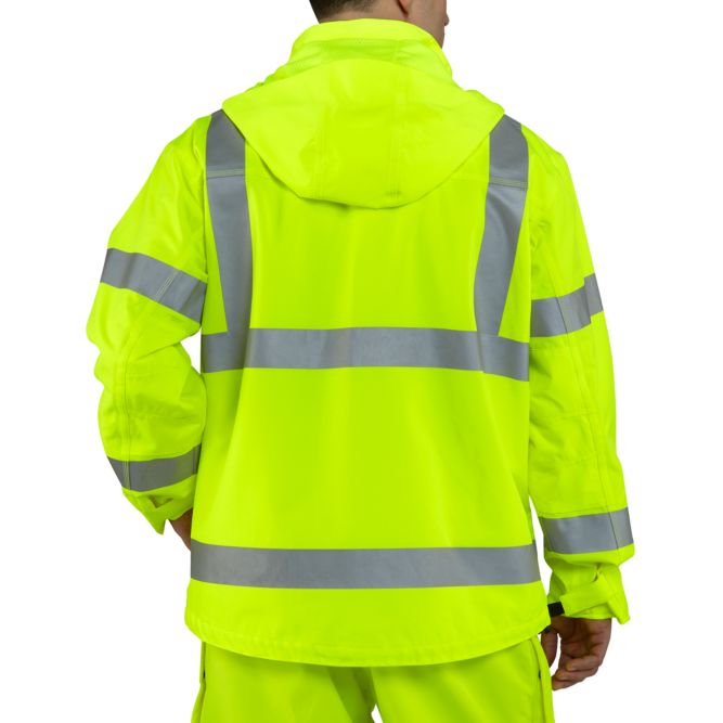 Carhartt High‐Visibility Class 3 Waterproof Jacket, 100499 Brite Lime back