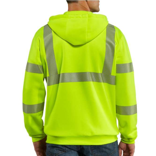 Carhartt High Visibility Zip Front Class 3 Sweatshirt, 100503 Brite Lime back
