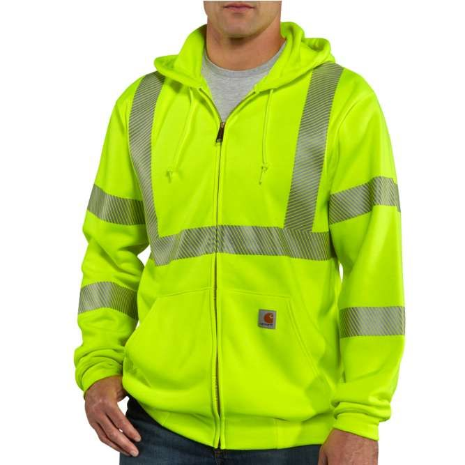 Carhartt High Visibility Zip Front Class 3 Sweatshirt, 100503 Brite Lime Option