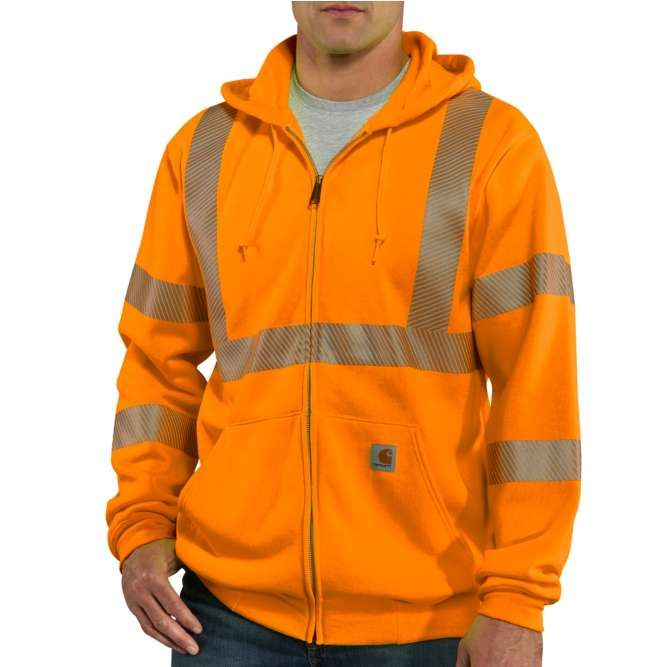 Carhartt High Visibility Zip Front Class 3 Sweatshirt, 100503 Brite Orange