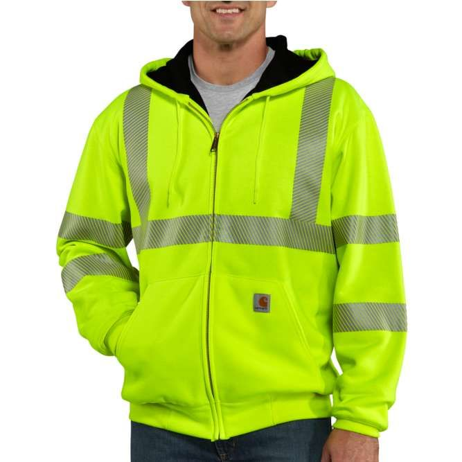 Carhartt High Visibility Zip Front Class 3 Thermal Lined Sweatshirt, 100504 Brite Lime Option