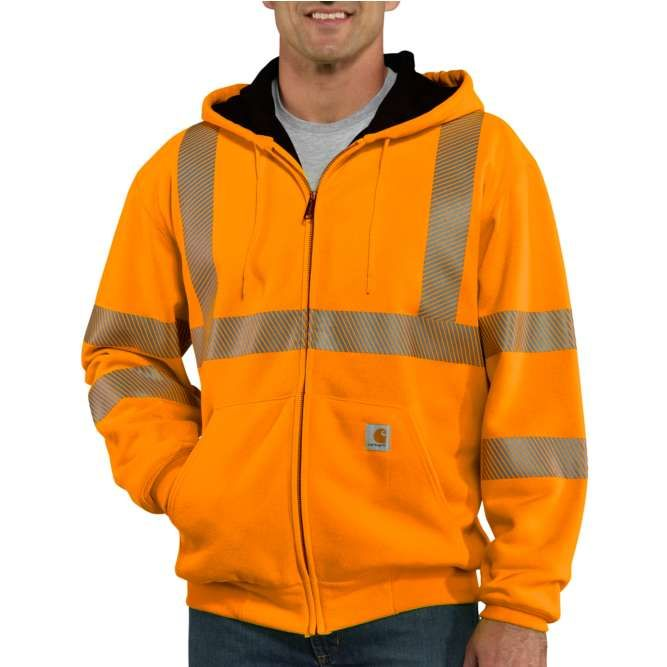 Carhartt High Visibility Zip Front Class 3 Thermal Lined Sweatshirt, 100504 Brite Orange