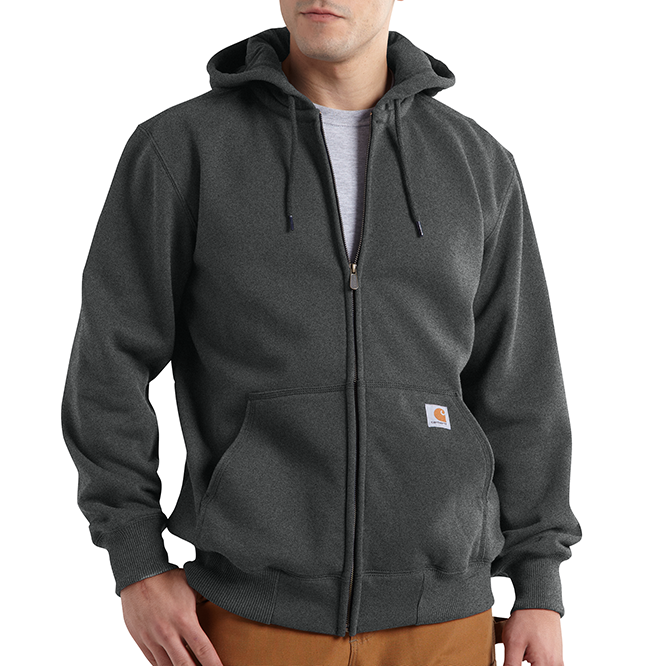 Carhartt Rain Defender Paxton Heavyweight Hooded Zip Front Sweatshirt, 100614 Carbon Heather