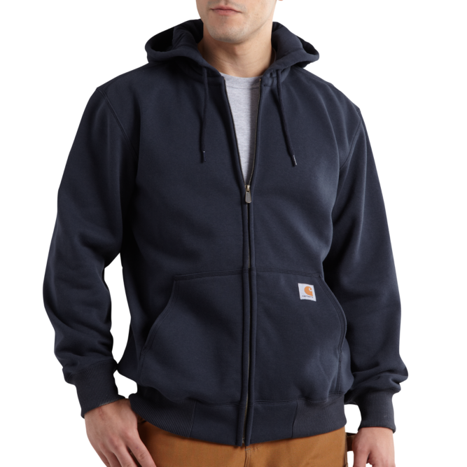Carhartt Rain Defender Paxton Heavyweight Hooded Zip Front Sweatshirt, 100614 New Navy Option