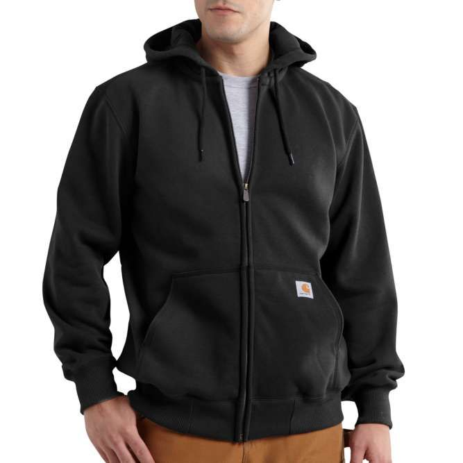 Carhartt Rain Defender Paxton Heavyweight Hooded Zip Front Sweatshirt, 100614 Black