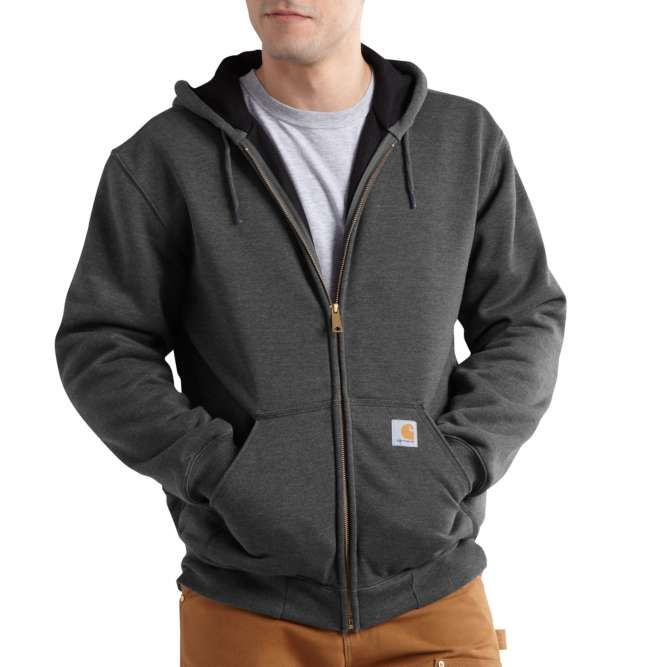 Carhartt Rain Defender Rutland Lined Zip‐Front Sweatshirt, 100632 Carbon Heather Option