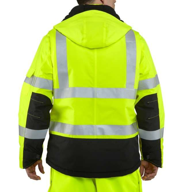Carhartt High Visibility Class 3 Sherwood Jacket, 100787 Brite Lime back