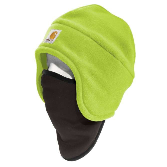 Carhartt High Visibility Color Enhanced Fleece 2‐in‐1 Hat, 100795 Brite Lime