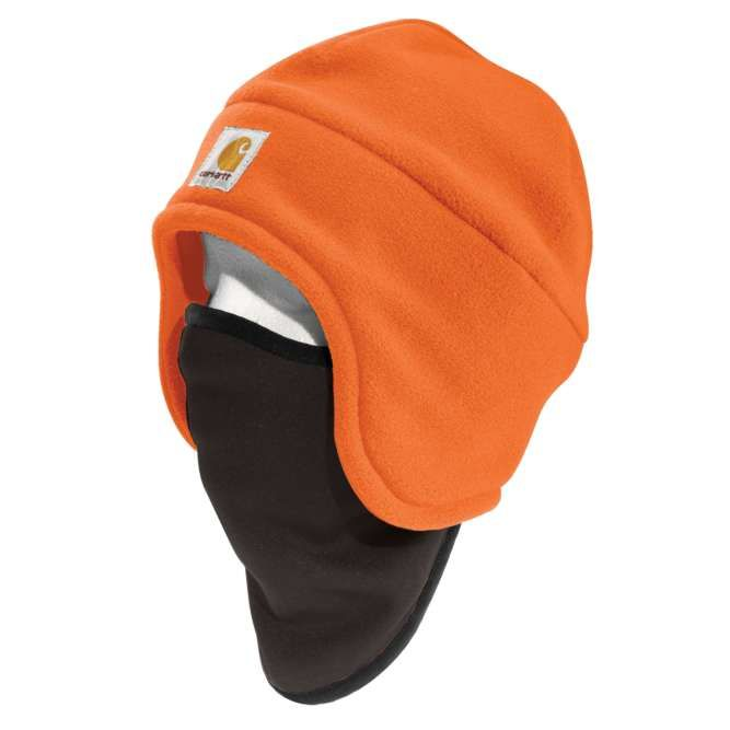 Carhartt High Visibility Color Enhanced Fleece 2‐in‐1 Hat, 100795 Brite Orange