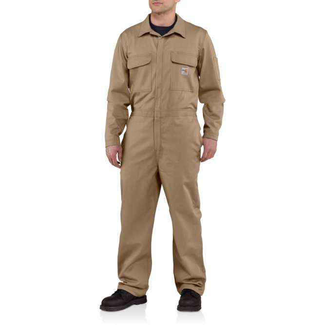 Carhartt Flame Resistant Traditional Twill Coveralls, 101017 Khaki Option