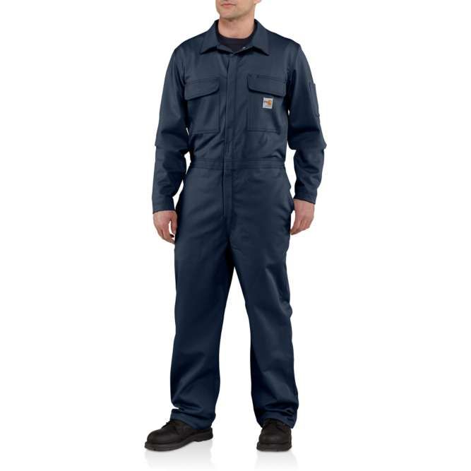 Carhartt Flame Resistant Traditional Twill Coveralls, 101017 Dark Navy