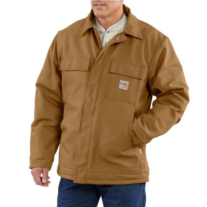 Carhartt Flame Resistant Duck Quilt Lined Traditional Coat, 101618 Carhartt Brown
