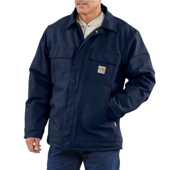 Carhartt Flame Resistant Duck Quilt Lined Traditional Coat, 101618 Dark Navy