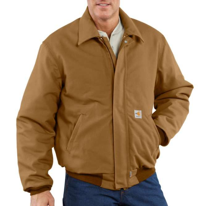 Carhartt Flame Resistant Duck Quilt Lined Bomber Jacket, 101623 Carhartt Brown