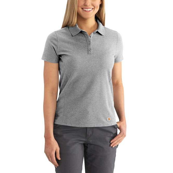 Carhartt Ladies Contractor's Short Sleeve Work Polo, 102460 Heather Gray Option