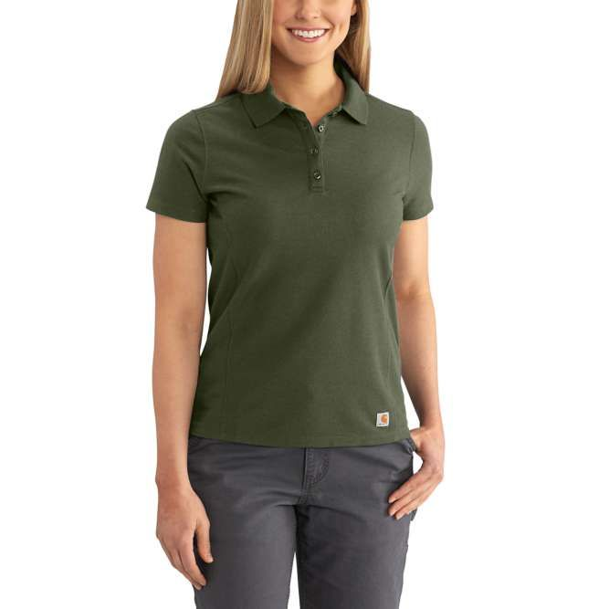 Carhartt Ladies Contractor's Short Sleeve Work Polo, 102460 Moss Option
