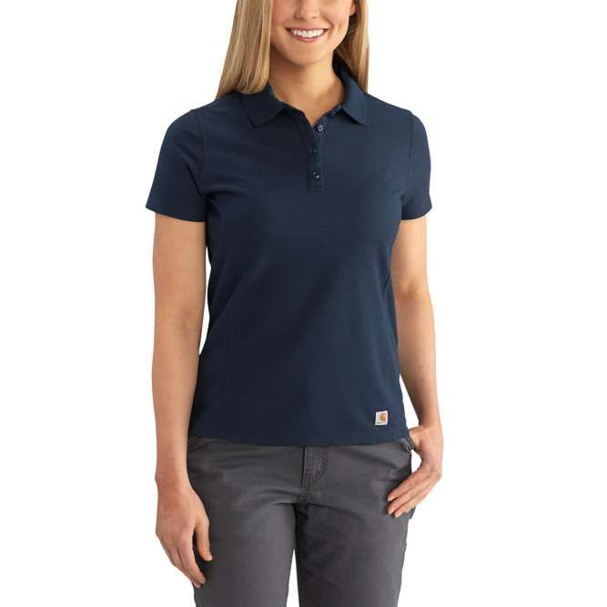 Carhartt Ladies Contractor's Short Sleeve Work Polo, 102460 Navy Option
