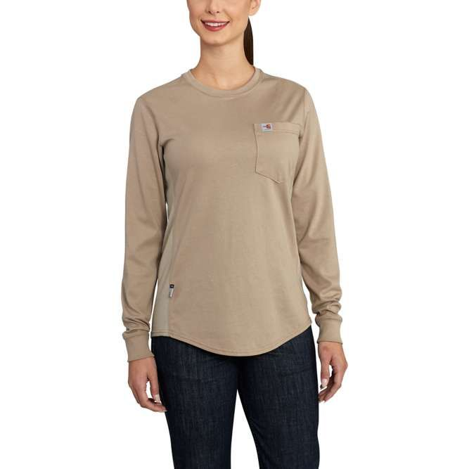 Carhartt Women's Flame Resistant Force Cotton Long Sleeve Crewneck T‐Shirt, 102685 Khaki Option