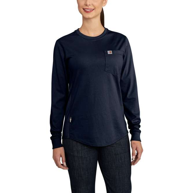 Carhartt Women's Flame Resistant Force Cotton Long Sleeve Crewneck T‐Shirt, 102685 Dark Navy