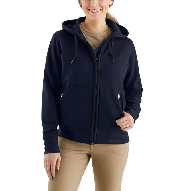Carhartt Ladies Flame Resistant Rain Defender Hooded Heavyweight Zip Front Sweatshirt, 102690 Dark Navy