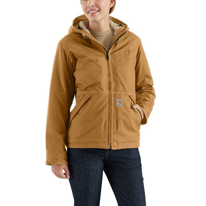 Carhartt Ladies Full Swing Quick Duck Sherpa‐Lined Flame‐Resistant Jacket, 102694 Carhartt Brrown Option