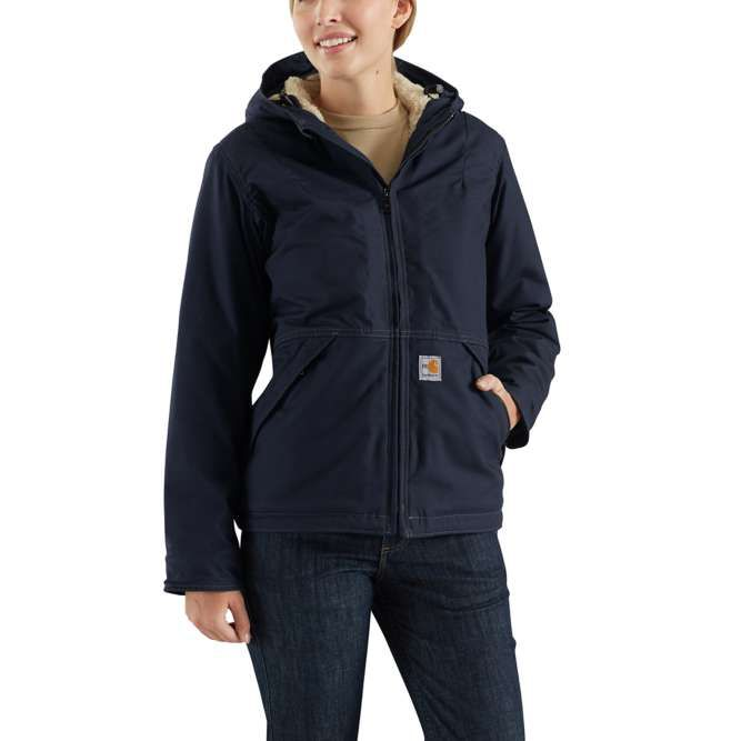 Carhartt Ladies Full Swing Quick Duck Sherpa‐Lined Flame‐Resistant Jacket, 102694 Dark Navy Option