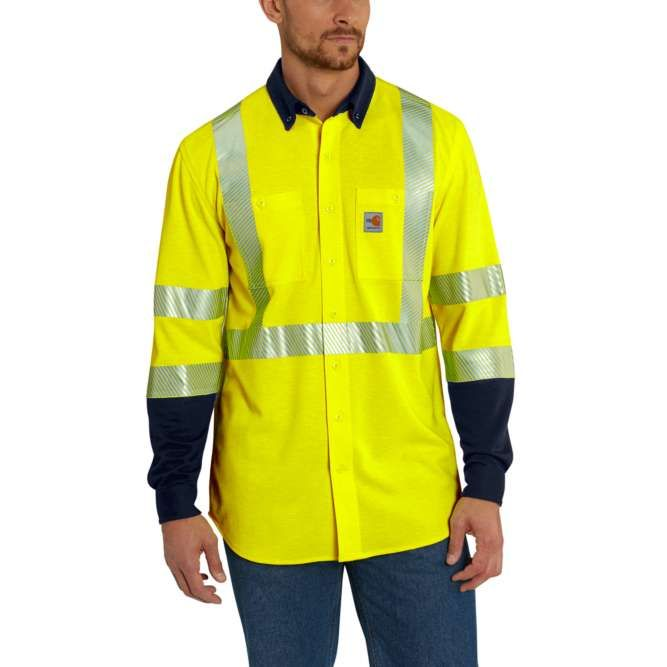 Carhartt Flame Resistant High Visibility Force Hybrid Shirt, 102843 Brite Lime