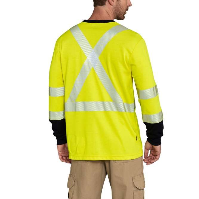 Carhartt Flame Resistant High Visibility Force Long Sleeve Class 3 T‐Shirt, 102905 Brite Lime back