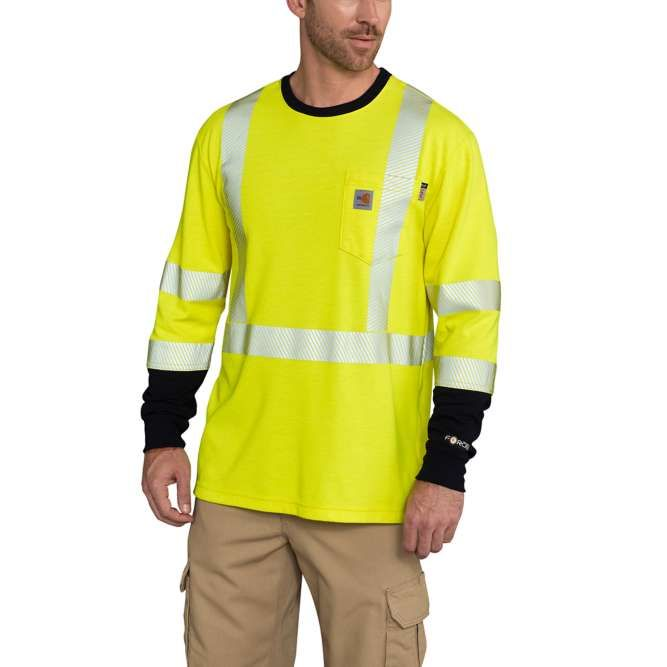 Carhartt Flame Resistant High Visibility Force Long Sleeve Class 3 T‐Shirt, 102905 Brite Lime