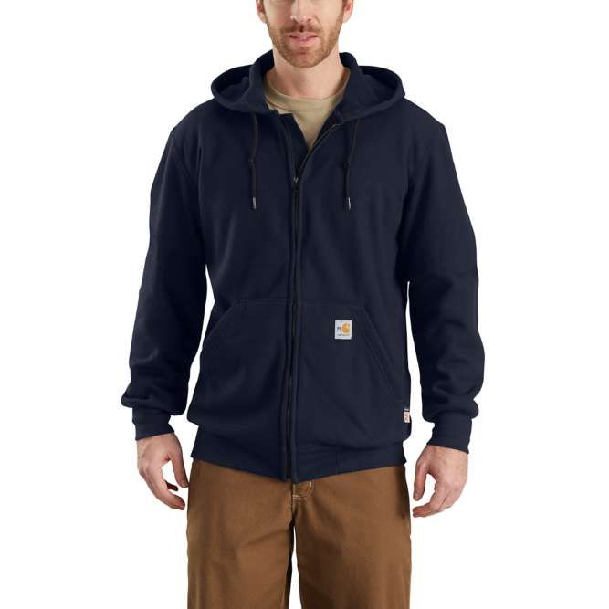 Carhartt Flame Resistant Rain Defender Hooded Heavyweight Zip‐Front Sweatshirt, 102908 Dark Navy