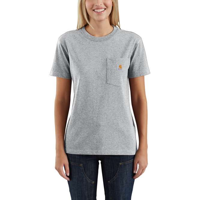 Carhartt Ladies Workwear Pocket T‐Shirt, 103067 Heather Gray