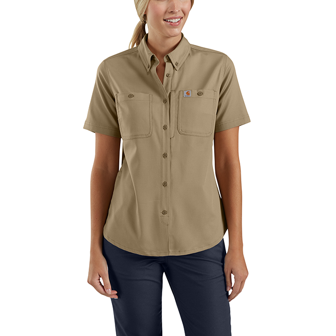 Carhartt Ladies Rugged Professional Series Short Sleeve Shirt, 103105 Dark Khaki